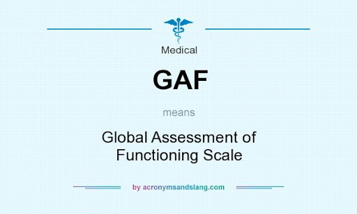 GAF means - Global Assessment of Functioning Scale